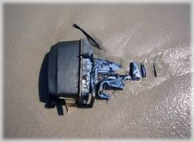 Sunken boat engine